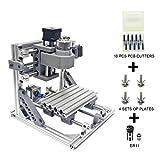 Wisamic DIY CNC Fräsmaschine 1610 GRBL , Arbeitsbereich 160 * 100 * 45mm DIY CNC Router Maschine 3 Achsen Mini Holz PCB Acryl Fräsmaschine Metall Gravur Carving Maschine +10 Stück CNC Fräsbits (Mit ER11)