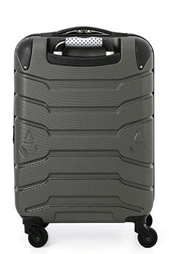 Aerolite SMART Koffer mit USB Port zum Laden, ABS Hartschale 4 Rollen Bordgepäck Handgepäck Trolley Koffer Gepäck , Genehmigt für Lufthansa, Easyjet, Ryanair und Viele Andere (Kohlegrau) - 2