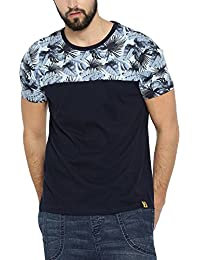 Campus Sutra Men's Neck Flower Printed T-Shirt