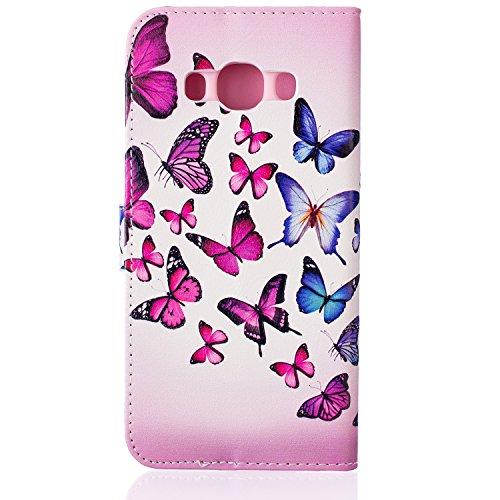 Aeeque iPhone 5/5S/5C/SE/6 plus/6S,, Samsung Galaxy S3/S4/S5/S6/S6/S6 Edge Edge J5/plus/nota 5/S7/S7/Edge G360/G530/i9060, Sony Xperia M4/Z5 mini/Z5, P8 Huawei Lite pittura, disegno elegante Custodia  Blue Pink Butterfly