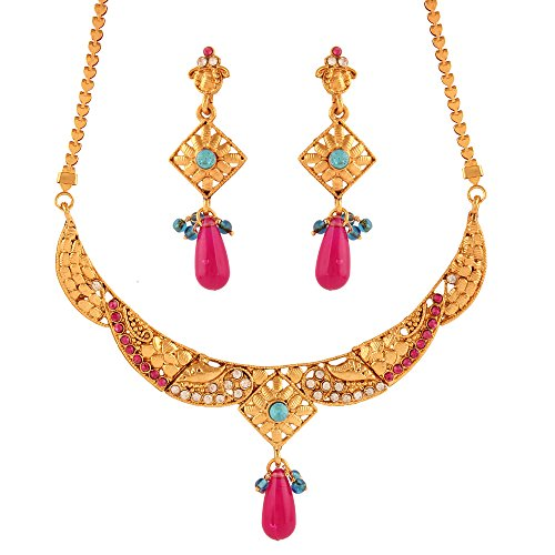 Variation Blue & Pink Necklace Set For Women (VD15930)  available at amazon for Rs.199
