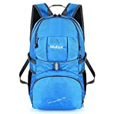 Bekahizar 35L Lightweight Backpack Foldable Hiking Rucksack Water Resistant Travel Daypack Bag for Outdoor Camping Cycling Traveling Trekking Day Trips (Blue)