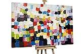 KunstLoft® XXL Gemälde 'Explosive Stille' 180x120cm | original handgemalte Bilder | Abstrakt Bunt Quadrate XXL | Leinwand-Bild Ölgemälde einteilig groß | Modernes Kunst Ölbild