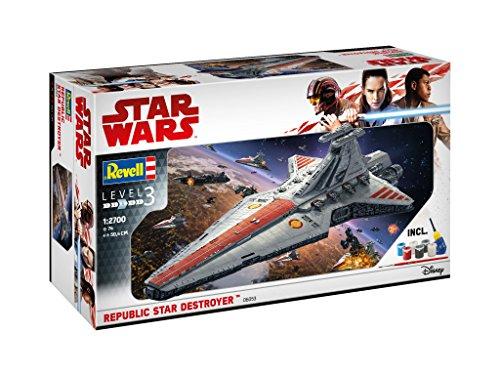 Revell 06053 Modellbausatz, Star Wars 1:2700 - Republic Star Destroyer, Level 3, orginalgetreue Nachbildung mit vielen Details
