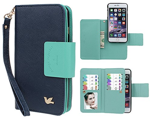 Case for iPhone 6/6S Plus, xhroizon Custodia Folio in pelle Premium [Magnetico] Mano Stile Flip Book Molteplici Card Slot Tasca Cash con Cover di Protezione Magnetica per iPhone 6 Plus/6S Plus [5.5] Blu scuro