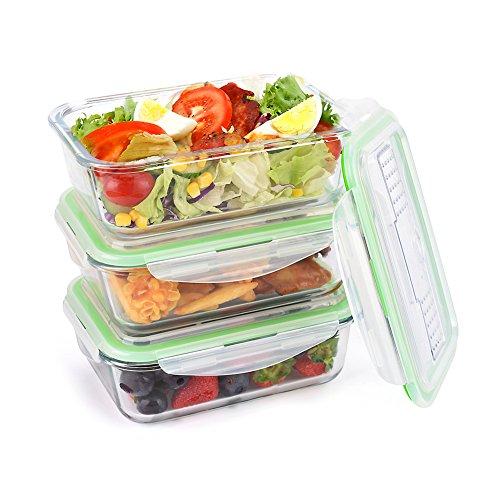 3 Pack Symbom Frischhaltedosen Glas Auslaufsicher 1L Lunchbox Mahlzeit Prep Food Container Set mit Eingebautes Besteck, for Mikrowelle, Gefrierschrank, Backofen, Spülmaschinenfest - BPA Free & FDA Approved