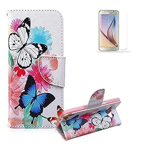 iPhone 4S/5SE/5C/6S Plus, iPod Touch 5/6., Samsung Galaxy S3S4S5Mini, S6S7Edge, Note 4, J120Mini, J510, G360, G530, G350, A310, A510, G850, E5, E7, LG Leon K7/K8K10Nexus 5x G4G5G3Mini, G4Stylus 2, MOTO G3, Moto G4/G4Plus, Nokia, Sony, HTC M9Hülle [mit gratis Displayschutzfolie], funyye Stilvolle Premium Flip Magnetic Abnehmbare PU Leder Geldbörse mit Kreditkarte Halter Slots Smart stehend Folio Book Style Ultra Dünn Nice Zeichnen Muster Schutzhülle Haut