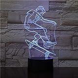3D Night Light Scooter Rider Intelligent Télécommande Colorée Lumières De Couleur...