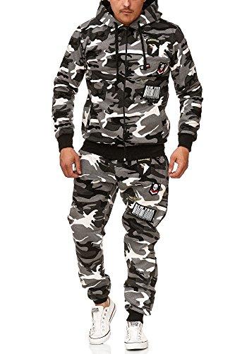 Violento Herren Jogging-Anzug | Trainings-Jacke-Hose | Sport Hoodie mit Kapuze | aus 100% Baumwolle | mit Rippstrickbündchen | von S bis XXL USA-Patches 685 (M-Slim, Grau-Camouflage)