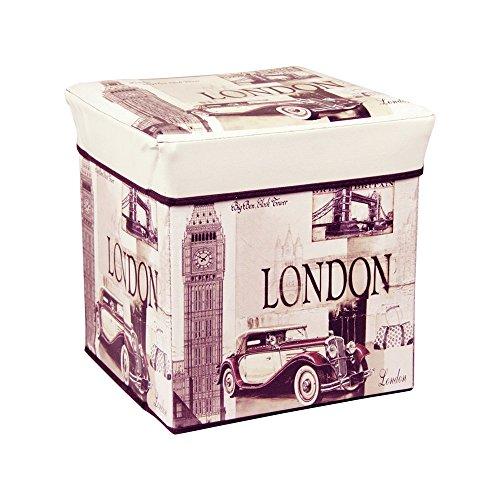 Harson&Jane 30x30x30 cm Sgabello Pieghevole cassapanca Pouf Contenitore poggiapiedi cubo (Londra)