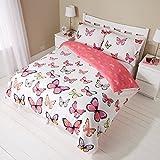 Juego de cama de 'color rosa con motivos de mariposas', reversible, cama de & almohada, 3tamaños diferentes, rosa, cama doble