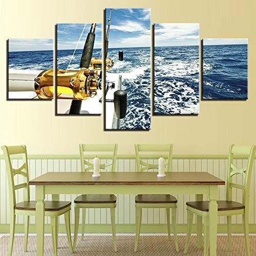 TRDT Moderno Lienzo de impresión 5 Piezas Yate Azul mar Fotos caña de Pescar Posters Modular murales para la decoración del hogar,A,30X40X230X60X230X80X1