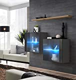 Juub Sideboard Kommode Schrank Anrichte Switch III Wotan Hochglanz PVC Push-Click LED - Switch III GWT