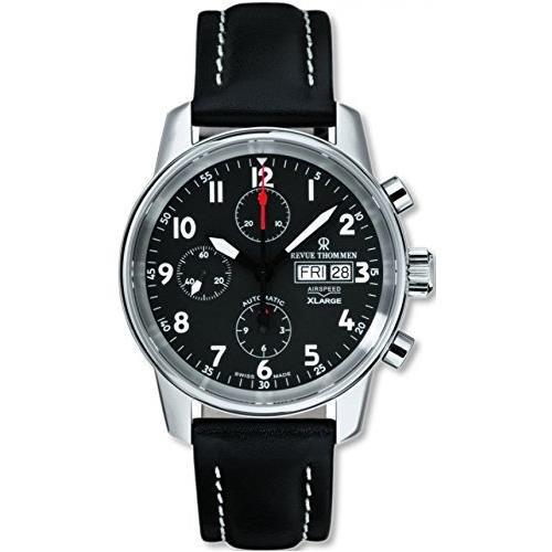 REVUE THOMMEN Homme 40MM Bracelet Cuir Noir Automatique Montre 16051.6537
