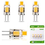 Liqoo 4er G4 LED 1,2W Lampe Birne, high Power COB Chip gleichmäßige Beleuchtung, 107D Kapazitanz inkl.IC, hohe CRI 83Ra, super mini Ø 9,6mm 2800K Warmweiß, 120LM Ersetzt 10W Halogenlampe AC DC 12V Abstrahlwinkel 260º