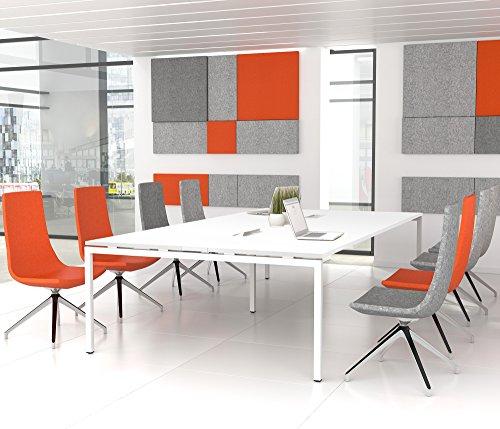 NOVA Konferenztisch 320x164cm Weiß mit ELEKTRIFIZIERUNG Besprechungstisch Tisch, Gestellfarbe:Weiß