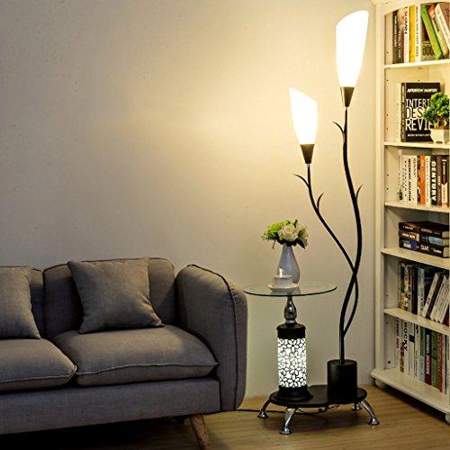 LOFAMI Lampadaire moderne, avec étagères en verre, 2 abat-jour acrylique blanc léger, lampe de stands de décoration en métal pour la chambre à coucher de salon, H171CM ( Color : Black )