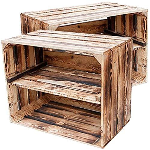Rustikales Bücherregal, Schrank (2er-Set NEUE geflammte Obstkisten als Schuh- und CD/Bücherregal - stapelbar mit Zwischenbrett, hochkant - von Kontorei®)