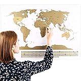Rubbel Weltkarte (Deutsch) + A4 Rubbelkarte von Deutschland (Weiß 84 x 58 cm)