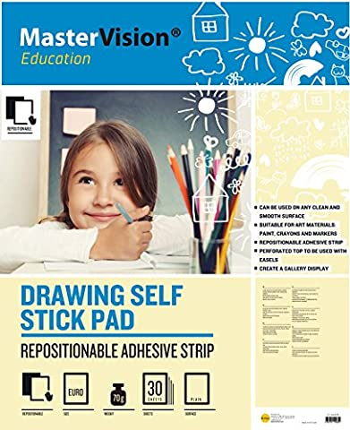Bi-Office MasterVision Education Drawing Self-Stick Pad, 30 Sheets - 70 gr/m² paper, A1 [Pack of
