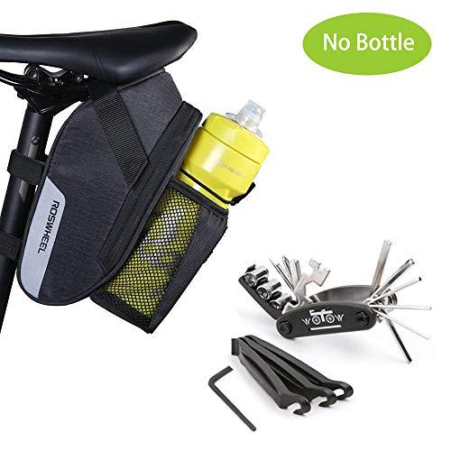WOTOW Fahrrad-Satteltasche Rahmentasche Fahrradtasche Oberrohrtasche Fahrrad Rahmentaschen Fahrrad Tasche Mountainbike Bag Satteltasche mit Reflektierstreifen, Schwarz (16-in-1-Werkzeugset + Tasche)