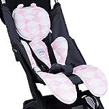 Luchild Sitzauflage Kinderwagen Sommer Atmungsaktive Sitzeinlage für Buggy Babyschale Kindersitz Universal (Rosa)