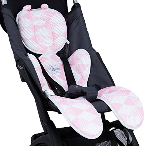 Luchild Materassino Passeggino Universale Cuscino per Passeggino Seggiolone Ovetto Auto Estivo Traspirante Anti-Sudore (rosa)