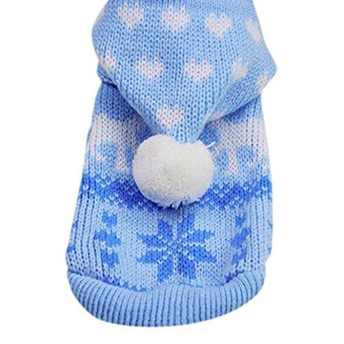 Kleidung, Hmeng Weihnachtsmuster Haustier Stricken Niedlichen Hund Hoodie Pullover Katze Welpen Mantel Warme Kostüm Bekleidung für den Herbst Winter (XS, Blau) (Niedlichen Kind-halloween-kostüme)
