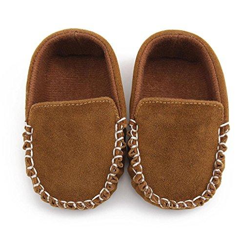 Janly Schuhe für 0-2 Jahre Baby, Neugeborene Mokassins Schuhe Krippe Schuh Mädchen Jungen Rutschfeste Weiche Wohnungen Schuhe Erste Wanderer (6-12 Monate, Braun) (Schuh Braun Casual Velcro)