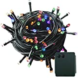 100-500 LED Batterie Lichterkette Kette Batteriebetrieben 8 Modi und Timer Leuchte Beleuchtung Grünes Kabel für Weihnachtsbaum, Garten, Party Innen und Außen Dekoration (Bunt, 500LEDs)