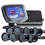 XOMAX XM-PS02 Einparkhilfe 8 Park-Sensoren für KFZ/Wohnmobil inkl. 2,2 Zoll LCD Bildschirm I mit Bildschirm und Tonausgabe I akustische Abstandsanzeige + Farbanzeige: rot, blau Kabellänge: 5m