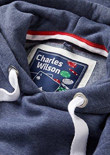 Charles Wilson Herren Kapuzenpullover aus mittelschwerer Baumwollmischung Blau Meliert