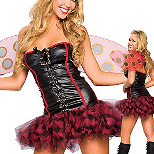 4 Stück Sexy Marienkäfer Qualität Kostüm Kleid Boppers Flügel und String Größe 38-40