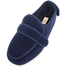 SNUGRUGS Mens Orthopaedic/EEE Wide Fit Adjustable Velcro Slipper Boot/Slippers - Navy - UK 12
