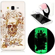 Samsung Galaxy Core Prime G360F Coque - Vandot Samsung Galaxy Core Prime G360F TPU Silicone Case Cover Housse de Protection TPU Souple Flexible Transparent Anti Rayure Anti-choc Etui + Plastique de Pliable Suspension Charging Stand Support - Motif Halloween terreur crane