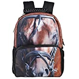 Koolertron 3D Horse Print Backpack Knapsack Rucksack Horse Bag Satchel School Bag Daypack Camping Hiking Travel Bag