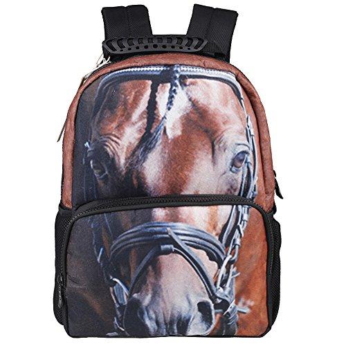Koolertron ragazze dei ragazzi Unisex Vivid 3D Animali Stampa Daypack di animale domestico Cane personalizzata zaino scuola con Ambientale feltro tessuto e poliestere Materiale (Cavallo) - Tessuto Cavallo