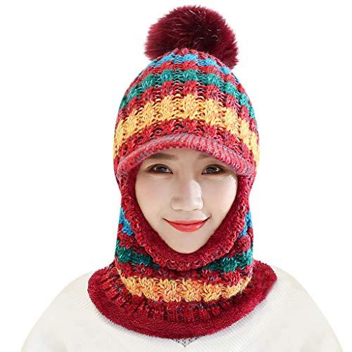 BHYDRY Cálido Invierno de Punto Sombrero de Vendedor de periódicos Gorro Nieve esquí Cap para Mujer niña