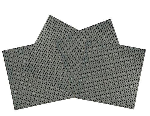 Papi Max 4PCS Platte groß dunkelgrau Baustelle 32x32 noppen grundplatte 25.5 cm x 25.5 cm - Lego Grundplatten Großen