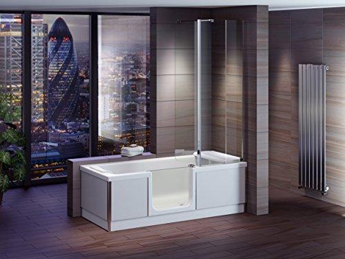 Preisvergleich Produktbild Badewanne mit Tür, Seniorenbadewanne 170x75x57,5cm mit Duschkabine,Wannenschürze und Ablauf/Sifon, Ausführung LINKS