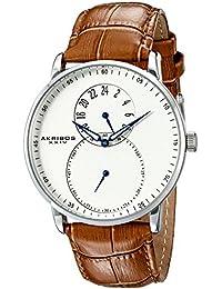 Akribos XXIV Reloj Dual Time Plateada para Hombre con Correa de piel, color marrón