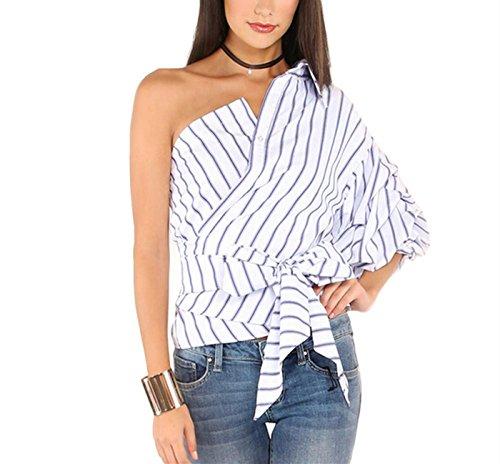LSAltd Damen elegante gestreifte unregelmäßige Hemd Bogen dünne Taillen Oberseiten T-Shirts (Weiß, S)