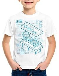style3 NES Contrôleur de jeu bleu T-Shirt pour enfants 8-Bit mario donkey bros kong