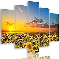 Idea Regalo - Feeby Frames, Quadro multipannello di 5 pannelli, Quadro su tela, Stampa artistica, Canvas Tipo A, 100x150 cm, PRATO, FIORI, GIRASOLE, CIELO, NATURA, PAESAGGIO, GIALLO