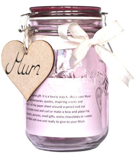Moonlight Memories Maman Pot Cadeau pour la fête des mères – Remplir avec cadeaux d'amour – Bocal clair avec votre choix de ruban