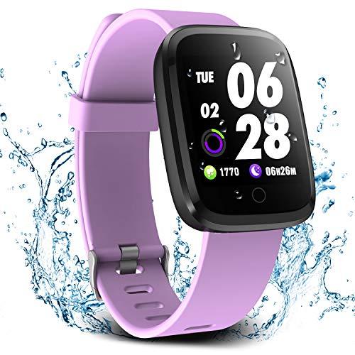 Verpro Bluetooth Smartwatch Wasserdicht Fitness Uhr, Fitness Tracker Sport Uhr mit Schrittzähler und Pulsmesser, Intelligente Armbanduhr für Herren Damen, Helles Lila