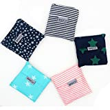 Bagcu Set of 5 Fashion Reusable Grocery Shopping Bag Foldable Shopping Tote Handy Shape Nylon Recycling Bags for Shopping, Buying Vegetables, Outdoor Travel, Camping, Hiking