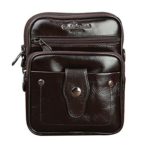 Genda 2Archer Piccola Borsa Messenger Mini Bag in Pelle Crossbody Quotidiana (Marrone) Marrone