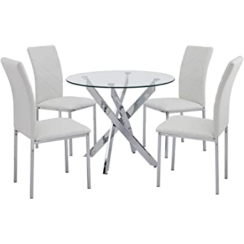 Sleek Round Glass Dining Table Set Includes 1 Round Glass Table
