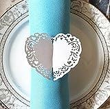 haahaha Hochzeit Tischdekoration Herz Stil Papier Serviette Ring 50(weiß)